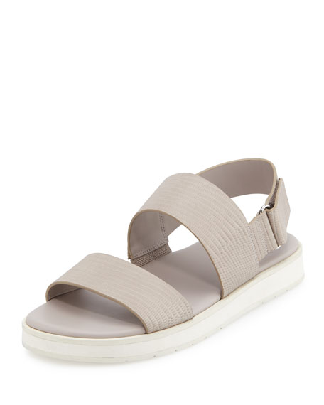 Vince Brennen Leather Platform Sandal, Light Gray Lizard