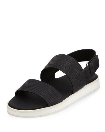 Brennen Leather Platform Sandal, Black Lizard