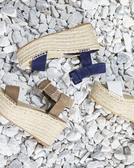 Abby Suede Espadrille Sandal, Blue Marine