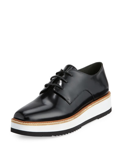 Reed Leather Lace-Up Sneaker, Black