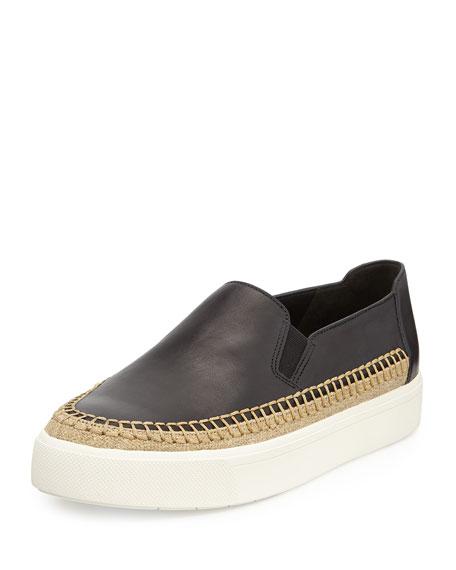 Vince Bates Leather Platform Skate Sneaker, Black