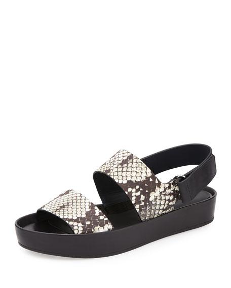 Vince Marett Snake-Embossed Platform Sandal, Black/White