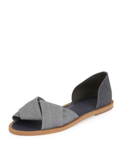 Idara Denim d'Orsay Flat Sandal