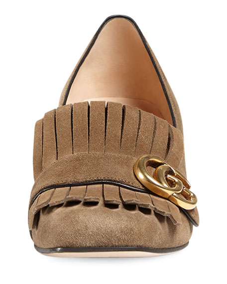 Marmont Fringe Suede 55mm Loafer, Taupe