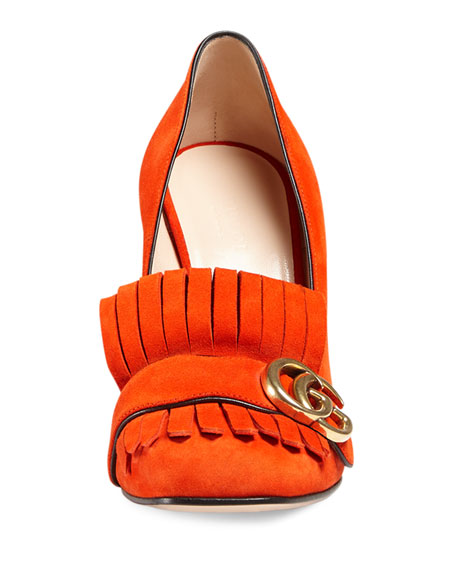 Marmont Fringe Suede 105mm Loafer, Sun Orange