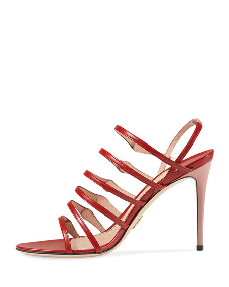 Aneta Leather Ladder-Strap 95mm Sandal, Carmine Rose