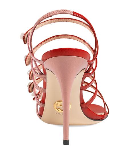 Aneta Leather Ladder-Strap 95mm Sandals, Carmine Rose