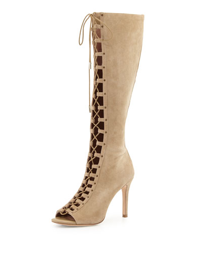 Aubry Suede Lace-Up Open-Toe Knee Boot, Cement