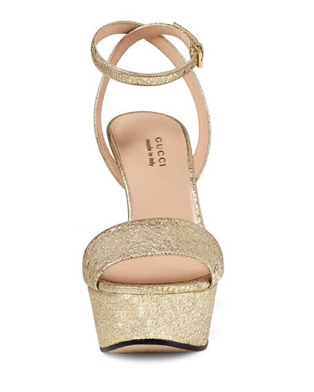 Leila Metallic Platform Sandal, Platinum