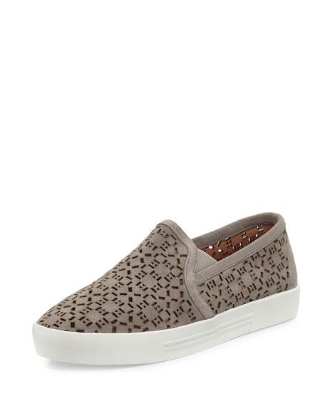 Huxley Laser-Cut Suede Sneaker, Dove