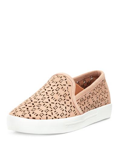 Huxley Laser-Cut Suede Sneaker, Clay