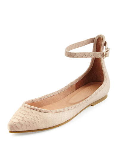 Temple Ankle-Wrap Ballerina Flat, Dust Pink Sand