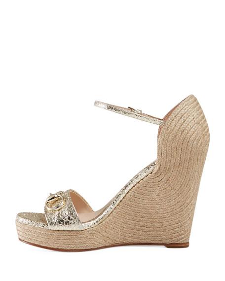 Carolina Metallic Wedge 85mm Sandal, Platino
