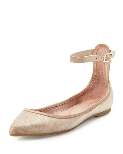 Temple Ankle-Wrap Ballerina Flat, Saglia