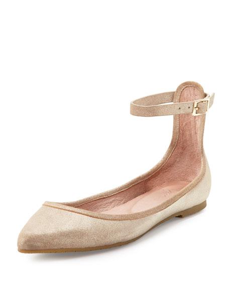 Joie Temple Ankle-Wrap Ballerina Flat, Saglia