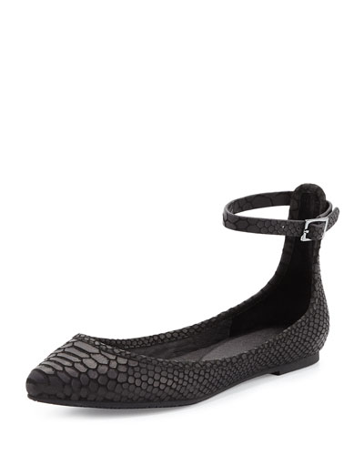 Temple Ankle-Wrap Ballerina Flat, Black