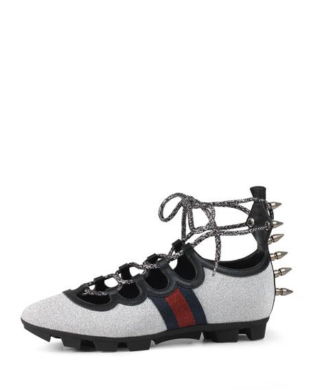 Gucci Titan Glitter Lace-Up Spike Sneaker, Argento