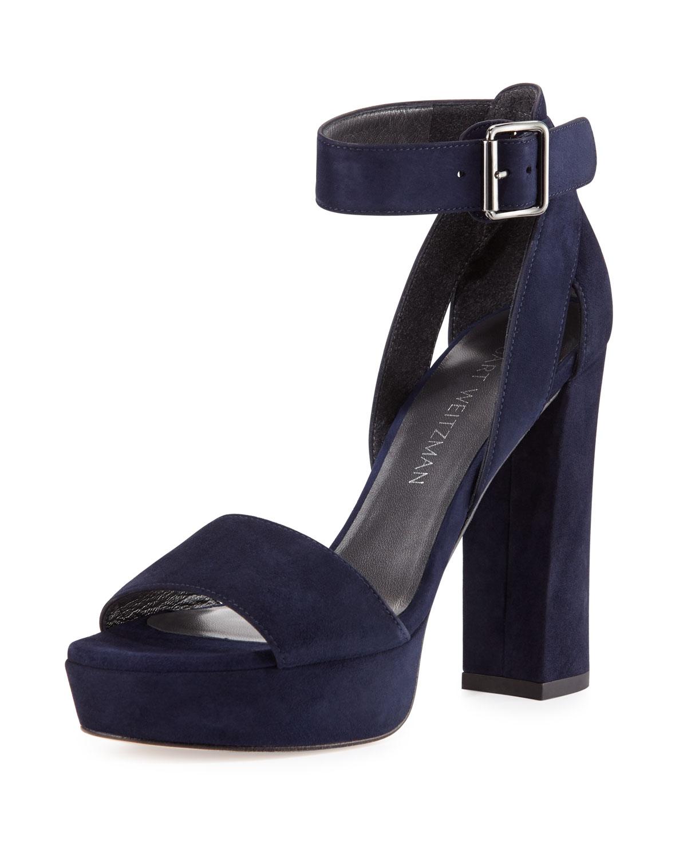 49afd1b663 Stuart Weitzman Mostly Suede Platform Sandal, Nice Blue | Neiman Marcus
