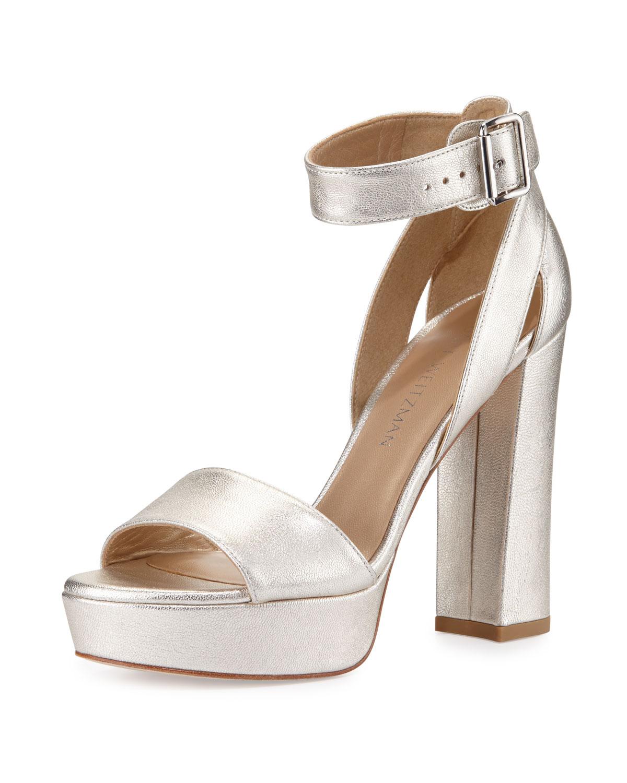 f415ebecda Stuart Weitzman Mostly Platform Leather Sandal, Pearl | Neiman Marcus