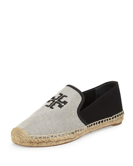 Tory Burch Vargas Canvas & Leather Espadrille, Ecru/Black