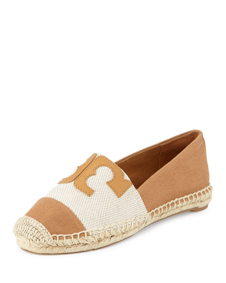 Tory Burch Veranda Canvas & Leather Espadrille, Stirrup/Ecru/Tan