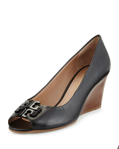 Tory Burch Lowell Peep-Toe Wedge Pump, Black