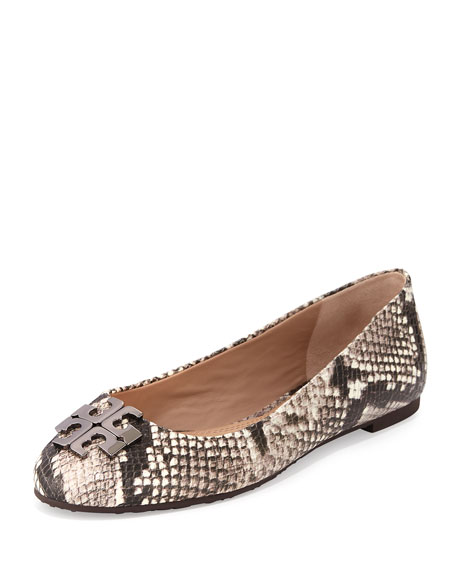 Tory Burch Lowell 2 Snake-Embossed Ballerina Flat, Black/White