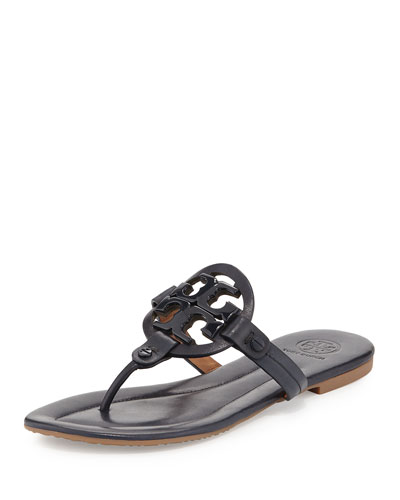 Miller 2 Logo Leather Flat Sandal, Bright Navy