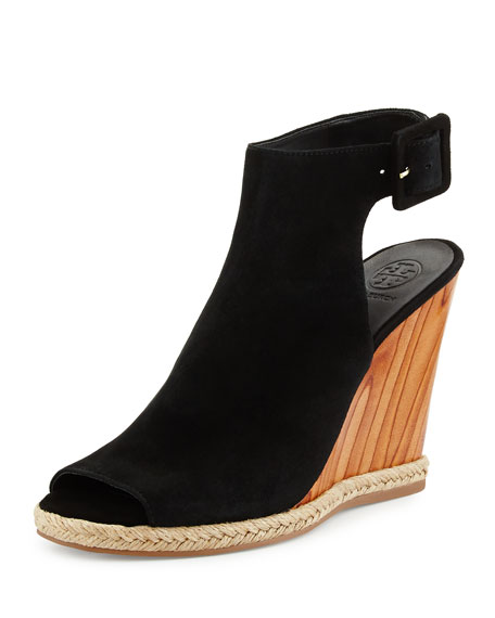 Tory Burch Raya Suede Wedge Sandal, Black