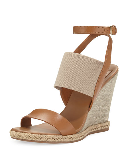 Tory Burch Niello Metallic Wedge Sandal, Royal Tan