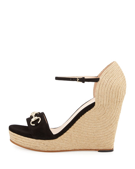 Carolina Suede Espadrille Wedge Sandal, Black