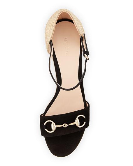Carolina Suede Espadrille Wedge Sandal, Black