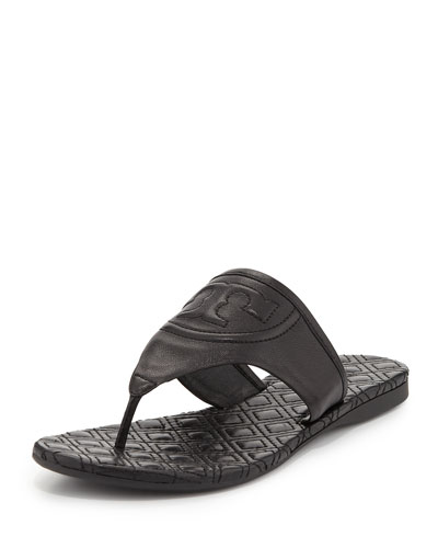 Tory Burch Fleming Flat Thong Sandal, Black