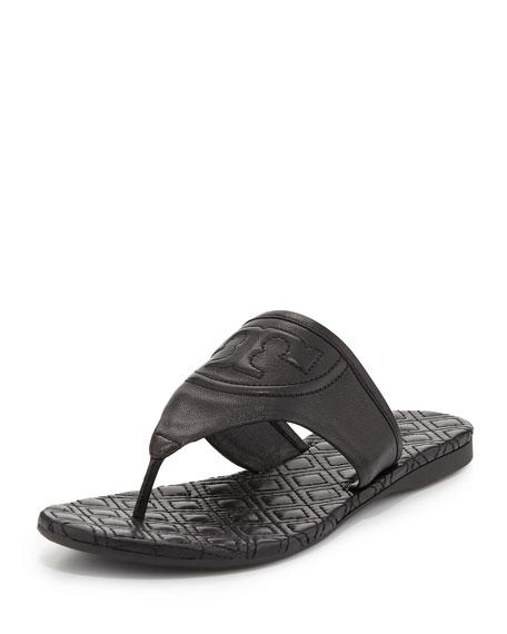 Tory Burch Fleming Flat Thong Sandal, Black