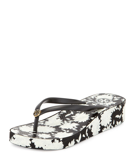 Tory Burch Thandie Floral-Print Wedge Flip Flop, Black/Orchard