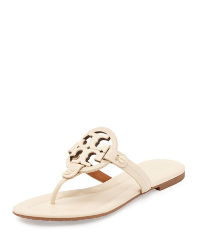 Miller 2 Logo Flat Leather Sandal, Dulce de Leche