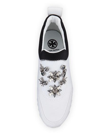 Rosas Embellished Runner Sneaker, White/Black