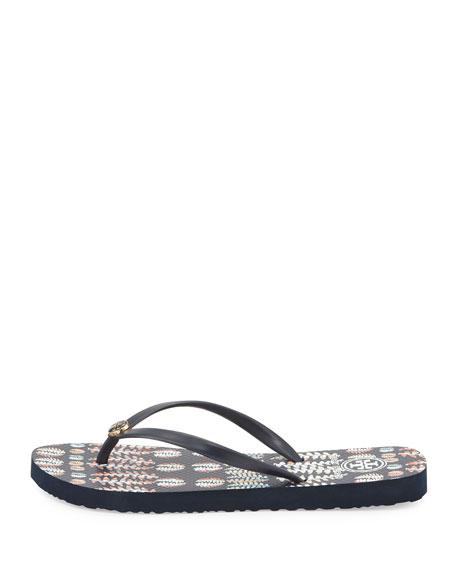 Thin Rubber Flip-Flop Sandal, Navy/Fern Print
