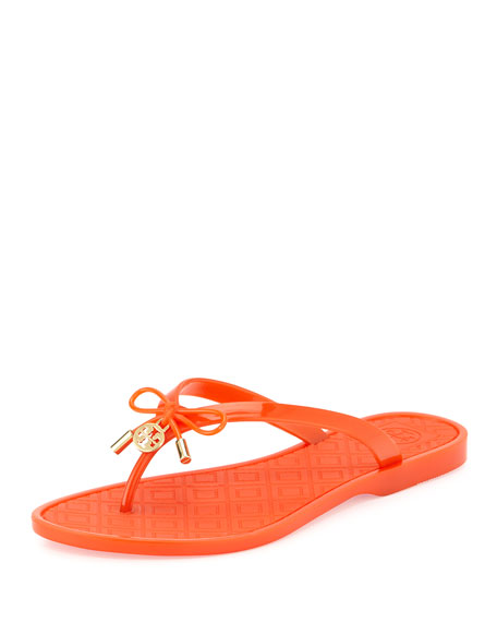 Tory Burch Jelly Bow Logo-Charm Thong Sandal, Pop Orange