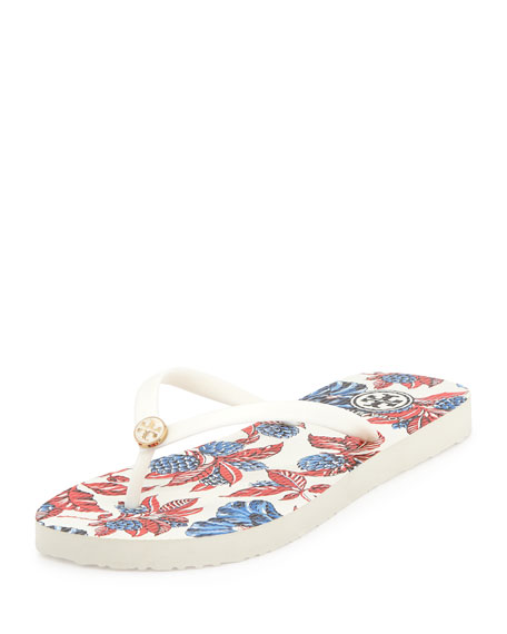 Tory Burch Thin Rubber Flip Flop Sandal, Ivory