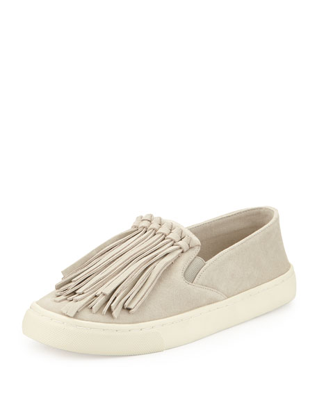 Tory Burch Fria Fringe Suede Slip-On Sneaker, Cement