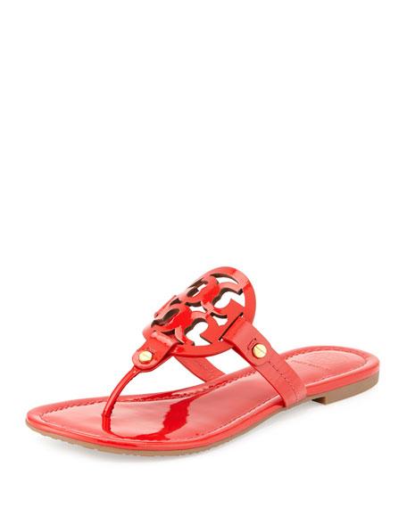 Tory Burch Miller Patent Logo Sandal, Vermillion