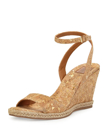 Tory Burch Marion Quilted Cork Wedge Sandal, Gold