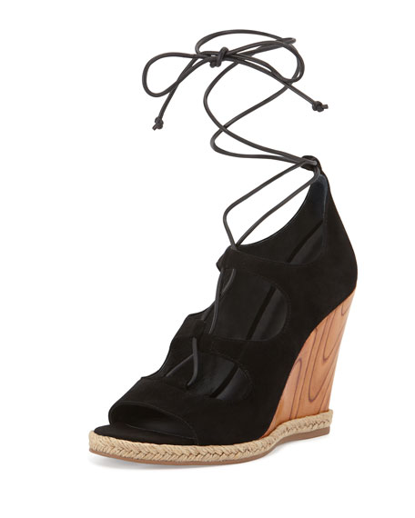 Tory Burch Raya Suede Lace-Up Wedge Sandal, Black