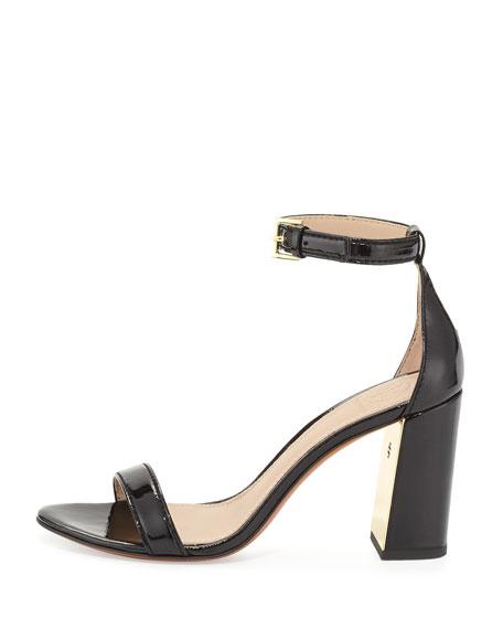 Cecile Patent 85mm Sandal, Black