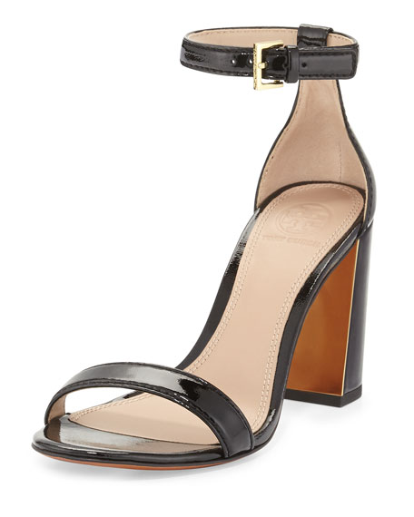 Cecile Patent 85mm Sandal, Black