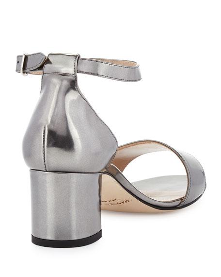 Lauratomod Patent Ankle-Wrap Sandal, Specchio