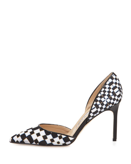 Image 2 of 3: Tayler Printed Pointed d'Orsay Pumps, Black/White