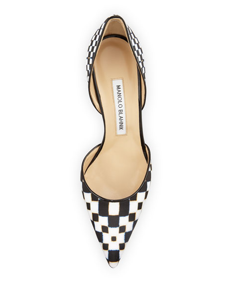 Image 3 of 3: Tayler Printed Pointed d'Orsay Pumps, Black/White