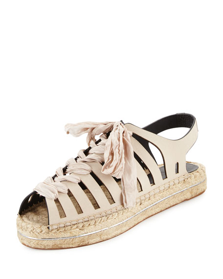 Gemma Lace-Up Flat Espadrille Sandal, Stone